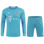 2020/2021 Bayern Munich Goalkeeper Blue Long Sleeve Men's Soccer Jersey + Shorts Set