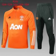 Kid's 2020-2021 Manchester United Orange Half Zip Soccer Training Suit