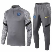 2020-2021 Inter Milan Grey Half Zip Soccer Training Suit