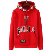 2021/2022 Chicago Bulls x Aape Pullover Red Hoodie Sweatshirt Men