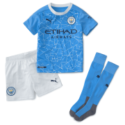 2020/2021 Manchester City Home Light Blue Kids Soccer Jersey Whole Kit(Shirt + Short + Socks)