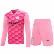 2020/2021 Manchester City Goalkeeper Pink Long Sleeve Men's Soccer Jersey + Shorts Set