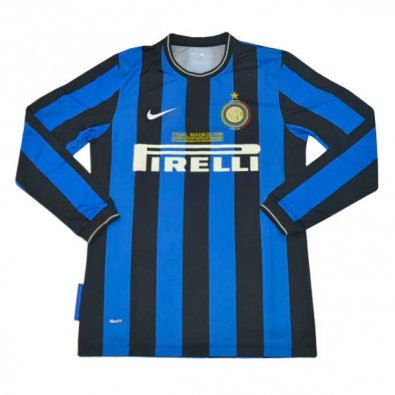 2009/10 Inter Milan Retro Home Black & Blue Stripes Long Sleeve Men Soccer Jersey Shirt