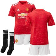 2020/2021 Manchester United Home Red Soccer Whole Kit Jersey + Short + Socks Kid's