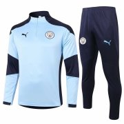 2020-2021 Manchester City Light Blue Half Zip Soccer Training Suit