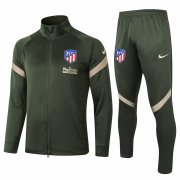 2020-2021 Atletico Madrid Olive Green Jacket Soccer Training Suit