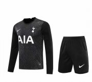 2020/2021 Tottenham Hotspur Goalkeeper Black Long Sleeve Men's Soccer Jersey + Shorts Set
