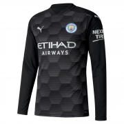 2020/2021 Manchester City Home Goalkeeper Black LS Men Soccer Jersey Shirt