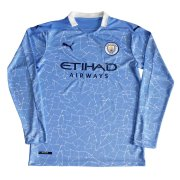 2020/2021 Manchester City Home Light Blue Long Sleeve Men Soccer Jersey Shirt