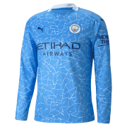 2020/2021 Manchester City Home Light Blue LS Men Soccer Jersey Shirt