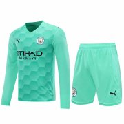 2020/2021 Manchester City Goalkeeper Green Long Sleeve Men's Soccer Jersey + Shorts Set