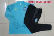 2020-2021 Brazil Blue Half Zip Soccer Training Suit