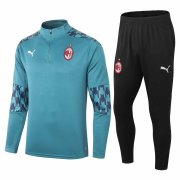 2020-2021 AC Milan Green Half Zip Soccer Training Suit