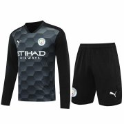 2020/2021 Manchester City Goalkeeper Black Long Sleeve Men's Soccer Jersey + Shorts Set