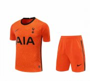 2020/2021 Tottenham Hotspur Goalkeeper Orange Men's Soccer Jersey + Shorts Set