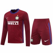2020/2021 Inter Milan Goalkeeper Red Long Sleeve Men's Soccer Jersey + Shorts Set