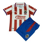 2020/2021 Chivas Home Red White Stripes Kids Soccer Jersey Kit(Shirt + Short)