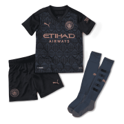 2020/2021 Manchester City Away Black Kids Soccer Jersey Whole Kit (Shirt + Short + Socks)
