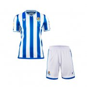 2020/2021 Real Sociedad Home Kids Soccer Jersey Kit(Shirt + Short)