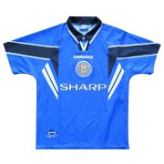 1996-1997 Manchester United Retro Third Away Blue Men Soccer Jersey Shirt
