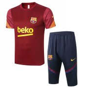 2020-2021 Barcelona Short Soccer Training Suit Burgundy