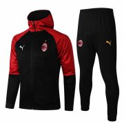 2020/2021 AC Milan Hoodie Black Soccer Training Suit (Jacket + Pants) Men's