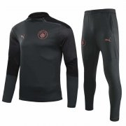 2020-2021 Manchester City Dark Grey Half Zip Soccer Training Suit