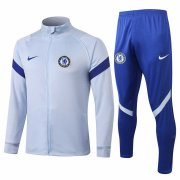 2020-2021 Chelsea Light Grey Jacket Soccer Training Suit