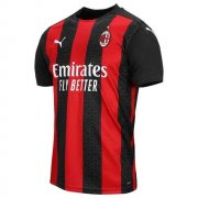 2020/2021 AC Milan Home Red Black Stripes Soccer Jersey Men's