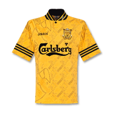 1995-1996 Liverpool Retro Third Away Yellow Men Soccer Jersey Shirt