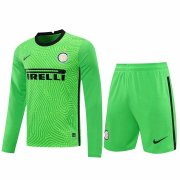 2020/2021 Inter Milan Goalkeeper Green Long Sleeve Men's Soccer Jersey + Shorts Set