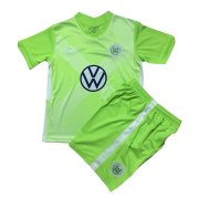 2020/2021 VfL Wolfsburg Home Green Kids Soccer Jersey Kit(Shirt + Short)