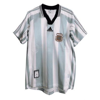 1998 Argentina World Cup Retro Home Blue&White Men Soccer Jersey Shirt
