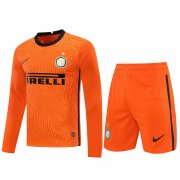 2020/2021 Inter Milan Goalkeeper Orange Long Sleeve Men's Soccer Jersey + Shorts Set
