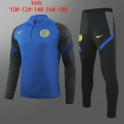 Kid's 2020-2021 Inter Milan Blue Half Zip Soccer Training Suit