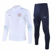 2020-2021 Manchester City White Half Zip Soccer Training Suit
