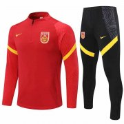 2020-2021 China Red Half Zip Soccer Training Suit