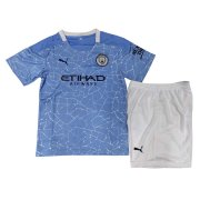2020/21 Manchester City Home Blue Kids Soccer Jersey Kit(Shirt + Short)