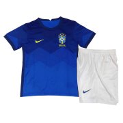 2020 Brazil Away Blue Kids Soccer Jersey Kit(Shirt + Short)