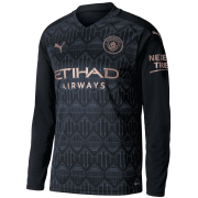 2020/2021 Manchester City Away Black LS Men Soccer Jersey Shirt